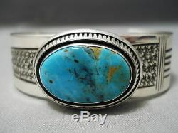 Important Leo Nez Vintage Navajo Turquoise Mountain Sterling Silver Bracelet