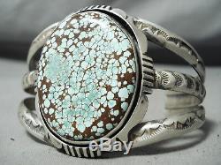 Important Vintage Navajo #8 Turquoise Sterling Silver Bracelet