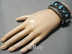 Important Vintage Navajo Blue Jay Turquoise Sterling Silver Bracelet Old