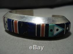 Important Vintage Navajo Gibson Nez Turquoise Sterling Silver Inlay Bracelet
