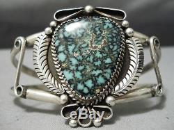 Important Vintage Navajo Last Chance Turquoise Sterling Silver Bracelet Old