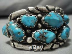 Important Vintage Zuni Chunky Turquoisd Heavy Sterling Silver Bracelet Old