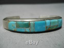 Impressive Vintage Navajo Inlay Royston Turquoise Sterling Silver Bracelet