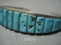 Incredible Vintage Navajo Turquoise Leeanne Lee Sterling Silver Bracelet Old