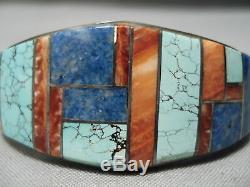 Intricate! Vintage Navajo Spiderweb Turquoise Sterling Silver Inlay Bracelet