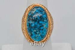 Jack Adakai Navajo Vintage Unisex 14K Yellow Gold & Turquoise Ring Size 7.75