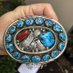 Killer! Vintage Navajo Southwestern Belt Buckle Sterling Coral & Turquoise