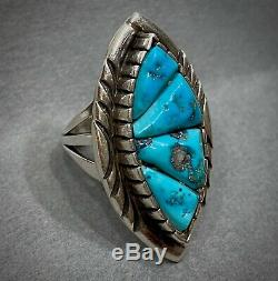 LARGE Vintage Navajo Native American Sterling Silver Cobblestone Turquoise Ring
