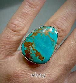 LARGE Vintage Navajo Sterling Silver Gem Turquoise Wide Band Ring GORGEOUS