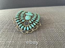 LMB Stamped Navajo Sterling Silver Turquoise Vintage Handmade Hair Barrette/pin