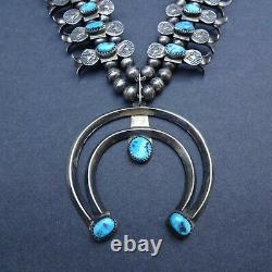 LOVELY Vintage NAVAJO Sterling Silver Turquoise BOX BOW SQUASH BLOSSOM Necklace