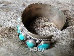 LOW AS I CAN GO Vintage OLD PAWN Sterling Silver NAVAJO TURQUOISE Cuff BRACELET