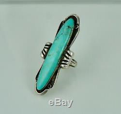 Large Navajo Sterling Turquoise Vintage Silver Ring Old Pawn Native American
