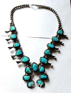 Large Vintage Navajo Sterling Seamed Beads & Turquoise Squash Blossom Necklace