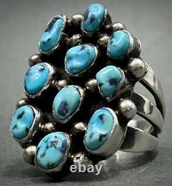 Large Vintage Navajo Sterling Silver Kingman Turquoise Cluster Ring 12 Grams