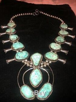 Large Vtg Native American Turquoise Silver Squash Blossom Necklace