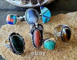 Lot of 7 TURQUOISE RING'S Vintage Retro Navajo Estate Southwest style Jewelry