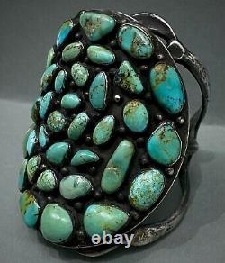 MASSIVE OLD Vintage Navajo Sterling Silver Cast Turquoise Cuff Bracelet 225 Gram