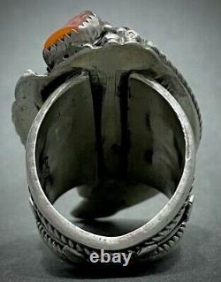 MASSIVE Vintage Navajo Sterling Silver Turquoise & Coral Claw Ring STUNNING