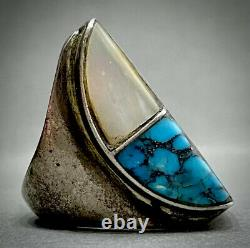 MASSIVE Vintage Navajo Sterling Silver Turquoise Multi Stone Inlay Ring 33 Grams
