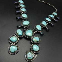 MID-CENTURY Vintage NAVAJO Sterling Silver Turquoise SQUASH BLOSSOM Necklace
