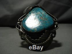 Magnificent Vintage Navajo #8 Turquoise Sterling Silver Bracelet Old