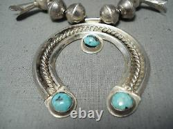 Magnificent Vintage Navajo Morenci Turquoise Sterling Silver Squash Blossom