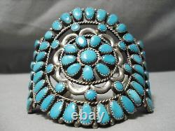 Magnificent Vintage Navajo Teardrop Turquoise Sterling Silver Bracelet Old