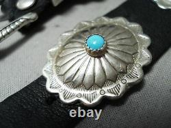 Marvelous Vintage Navajo Sleeping Beauty Turquoise Sterling Silver Concho Belt