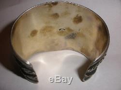 Men`s Massive Vintage Sterling Silver turquoise coral cuff bracelet Kay Johnson