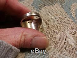 Mens Vintage Navajo Kingman Turquoise Sterling Silver Ring Size 10.5