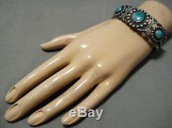 Museum Quality! Vintage Navajo 1900's Fox Turquoise Sterling Silver Bracelet