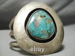 Museum Vintage Huge Bold Turquoise Sterling Silver Bracelet Old