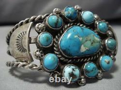 Museum Vintage Navajo Blue Gem Turquoise Coiled Sterling Silver Bracelet Old
