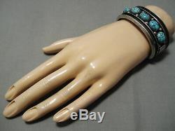 Museum Vintage Navajo Spiderweb Turquoise Sterling Silver Bracelet Old