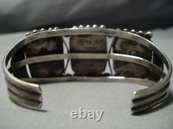 Museum Vintage Navajo Squared Turquoise Sterling Silver Cuff Bracelet Old