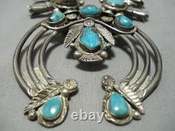 Museum Vintage Navajo Turquoise Leaf Sterling Silver Squash Blossom Necklace Old