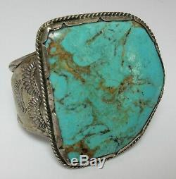 NATIVE AMERICAN SILVER Big TURQUOISE Stone CUFF BRACELET OLD PAWN Navajo Vintage