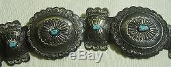 NAVAJO MUSEUM VINTAGE Sterling Silver/Turquoise Concho Belt SIGNED JH SLOT HVC-1