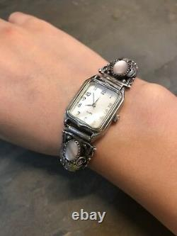 NAVAJO NATIVE AMERICAN STERLING SILVER VINTAGE MOP PAWN WATCH, signed SY