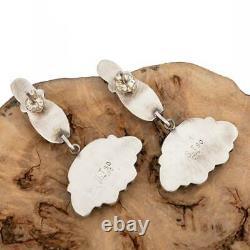 Native American Turquoise Earrings Navajo Cluster Sterling Silver Vintage Dangle