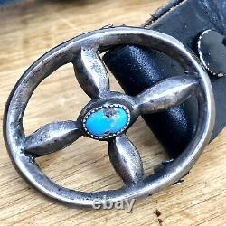 Navajo Concho Belt Turquoise Sterling Silver VTG 205g 1in Wide Signed NC Narrow