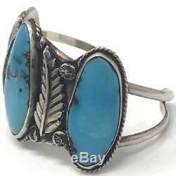 Navajo Cuff Bracelet Kingman Turquoise Foliate 40g 6in Sterling Silver VTG