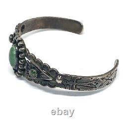 Navajo Cuff Bracelet Turquoise 16g 6.25in Sterling Silver VTG Indian Harvey Era