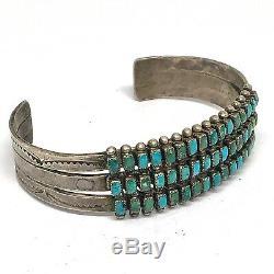 Navajo Cuff Bracelet Turquoise 30g 6.75in Three Row Silver VTG Fred Harvey Era