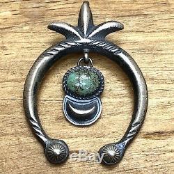 Navajo Naja Pendant Kingman Turquoise Sterling Handmade Signed Vintage Satin