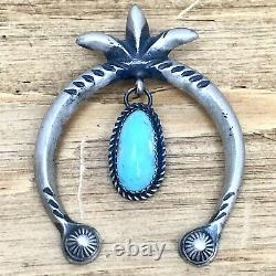 Navajo Naja Pendant Turquoise Sterling Handmade Signed VTG Satin Squash Blossom