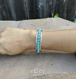 Navajo Turquoise Bracelet Vintage John Mike Native American Cuff Sterling Silver