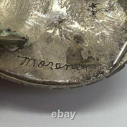 Navajo Turquoise Ring Sz 8.5 Vtg Huge Sterling Silver 27g Handmade Morenci Moon