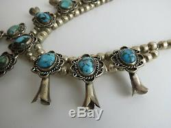 Navajo VTG petite sterling silver turquoise 15 squash blossom necklace
